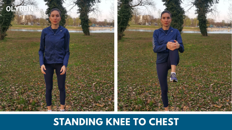Standing knee to chest